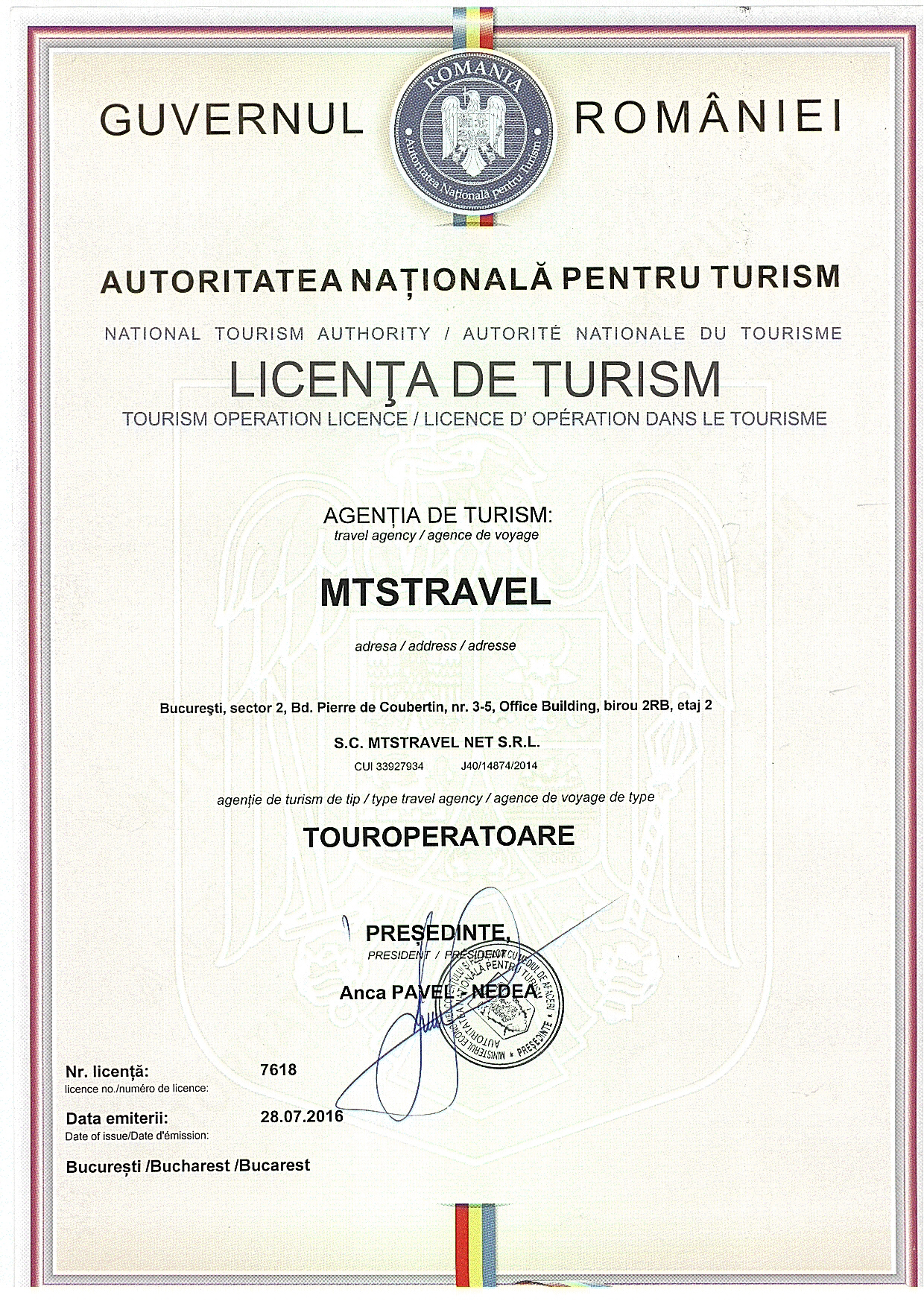 Licenta de turism MTS TRAVEL